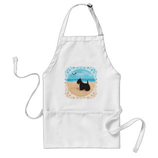 Scottie at the Beach with Seagull Adult Apron
