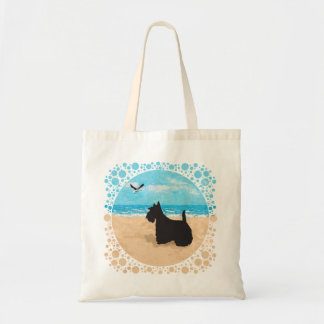 Scottie at the Beach with Seagull Tote Bags