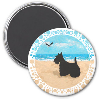 Scottie at the Beach with Seagull Refrigerator Magnet
