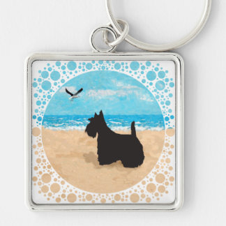 Scottie at the Beach with Seagull Silver-Colored Square Keychain