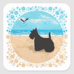 Scottie at the Beach with Seagull Square Sticker