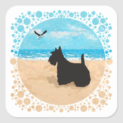 Scottie at the Beach with Seagull Square Stickers