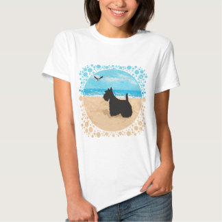 Scottie at the Beach with Seagull Tee Shirt
