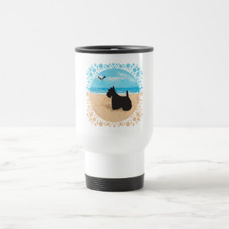 Scottie at the Beach with Seagull Travel Mug