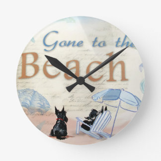 Scottie Beach Round Wall Clocks