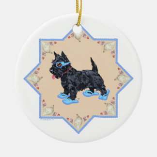 Scottie Blue FlipFlops Ceramic Ornament