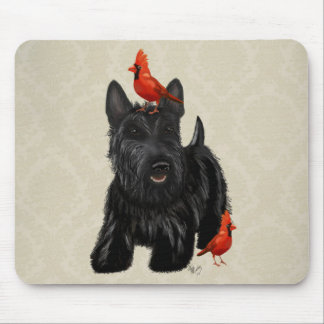 Scottie Dog and Red Birds Mouse Pad