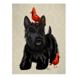 Scottie Dog and Red Birds Postcard