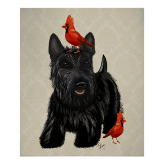 Scottie Dog and Red Birds Poster