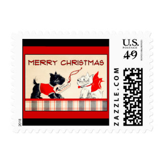 Scottie dog Black and White Merry Christmas Stamp