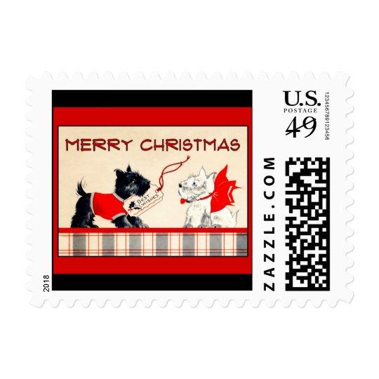 Scottie dog Black and White Merry Christmas Stamp