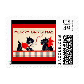 Scottie dog Happy Merry Christmas vintage image Postage Stamp