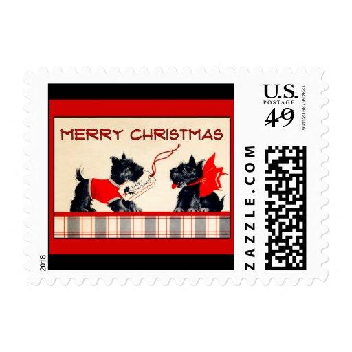 Scottie dog Happy Merry Christmas vintage image Stamp