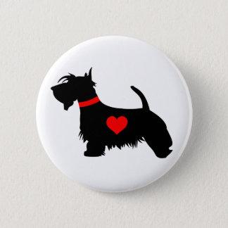 Scottie dog heart button badge