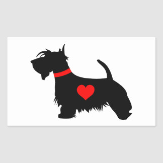 Scottie dog heart rectangular sticker