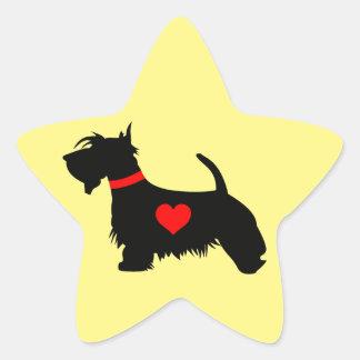 Scottie dog heart star sticker