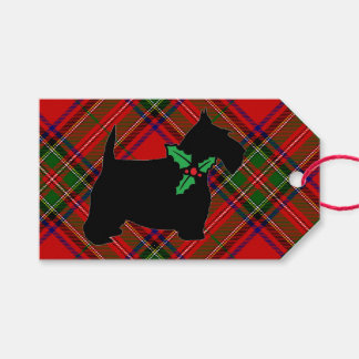 Scottie Dog Holly Plaid Gift Tags