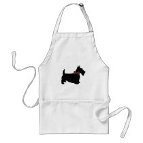 Scottie Dog in Plaid Bow Tie Adult Apron