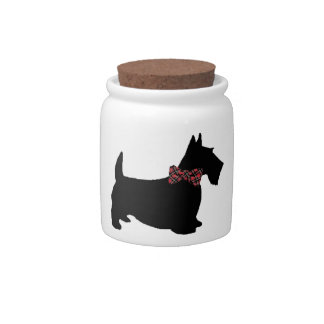Scottie Dog in Plaid Bow Tie Cookie/Candy Jar Candy Dishes