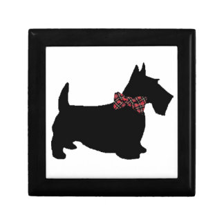 Scottie Dog in Plaid Bow Tie Gift Box