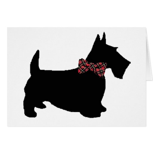 Scottie Dog in Plaid Bow Tie Greeting Card