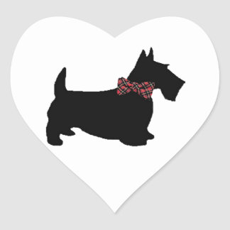 Scottie Dog in Plaid Bow Tie Heart Sticker