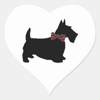 Scottie Dog in Plaid Bow Tie Heart Sticker