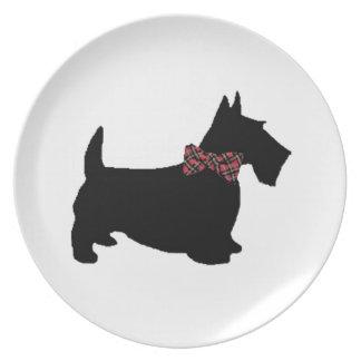 Scottie Dog in Plaid Bow Tie Melamine Plate