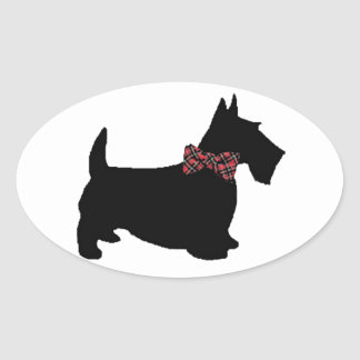Scottie Dog in Plaid Bow Tie Oval Sticker