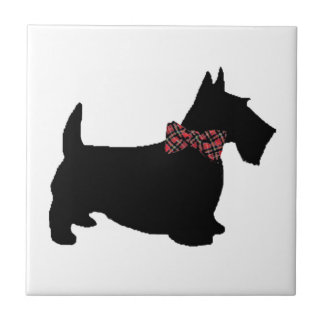 Scottie Dog in Plaid Bow Tie Small Square Tile