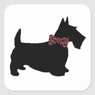 Scottie Dog in Plaid Bow Tie Square Sticker