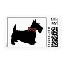 Scottie Dog in Plaid Bowtie Postage