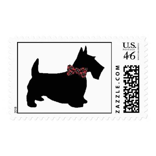 Scottie Dog in Plaid Bowtie Postage Stamp