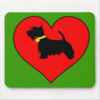 Scottie dog in red heart mouse mat