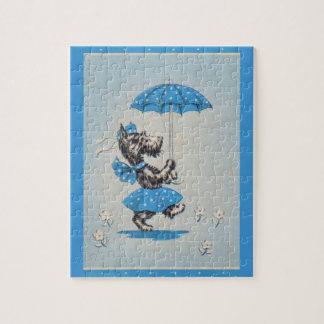 Scottie dog lady carrying umbrella jigsaw puzzle