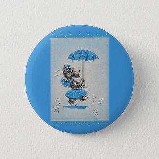 Scottie dog lady carrying umbrella pinback button