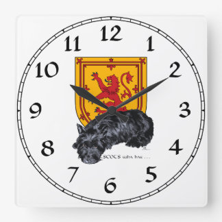 Scottie Dog Lion Rampant Flag Square Wall Clock