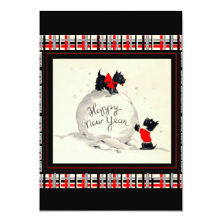 Scottie Dog New Years Invitation flat card