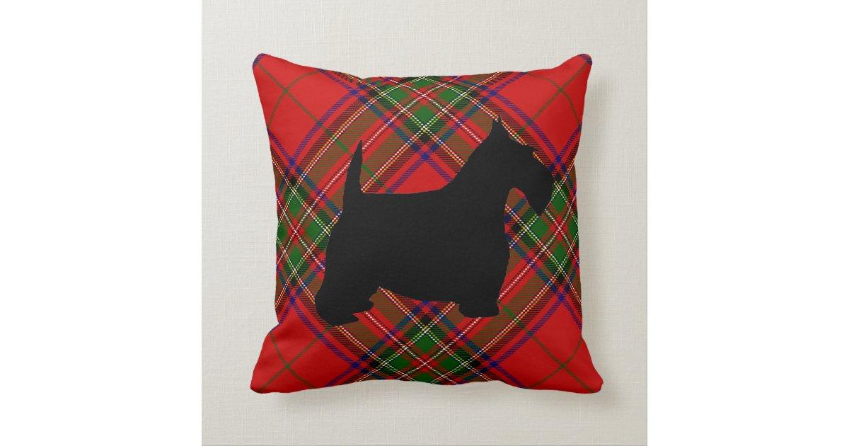 Scottie Dog on Plaid Throw Pillow Zazzle