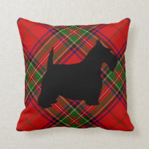 Scottie Dog on Plaid Throw Pillow