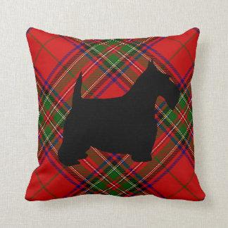 Scottie Dog on Plaid Throw Pillow