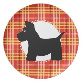 Scottie Dog Red Plaid Plate