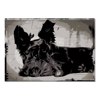 Scottie dog resting with urban style background print