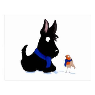 Scottie Dog & Robin Postcard