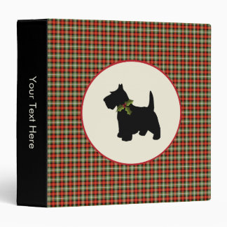 Scottie Dog Scotch Plaid Christmas 3 Ring Binder