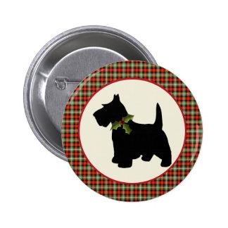 Scottie Dog Scotch Plaid Christmas Buttons