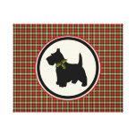 Scottie Dog Scotch Plaid Christmas Stretched Canvas Print