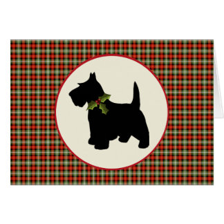 Scottie Dog Scotch Plaid Christmas Card