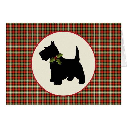 Scottie Dog Scotch Plaid Christmas Card