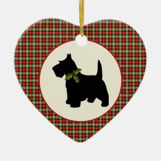 Scottie Dog Scotch Plaid Christmas Ceramic Ornament